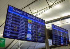 Flights scoreboard departures and arrivals royalty free stock photo