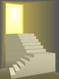 Flights of stairs up to a bright sun lit door. Two flights of stairs symbol of freedom and progress climb to door bright yellow sun light Stock Photos