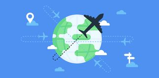 Flights and traveling around the world. Royalty Free Stock Photo