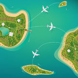 Flights between the tropical islands with beaches. Several different sizes of tropical islands with beaches and houses. Around float boats and planes fly. View royalty free illustration