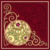 Fligree corner background. Gemstones golden filigree corner background, vector illustration Stock Photo