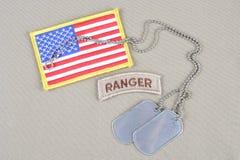 Flik för kommandosoldat för USA-ARMÉ med hundetiketten Royaltyfri Foto