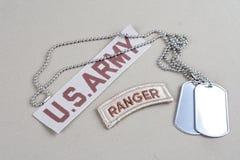 Flik för kommandosoldat för USA-ARMÉ med hundetiketten Arkivfoto