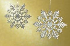 Flikkerende diamant mooie sneeuwvlokken Stock Afbeeldingen