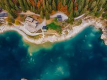 Flims caumasee blue water lake at Switzerland, alpine mountains, sunny, summer landscape top view stock image