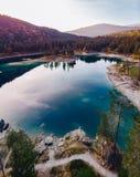 Flims lake at Switzerland, alpine mountains, sunny, summer landscape panorama stock photo