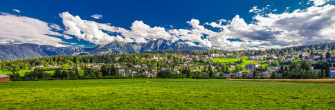 Flims village near Caumasee and Laax, Switzerland. Royalty Free Stock Images