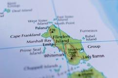 Flinders-Insel auf Karte stockfotos