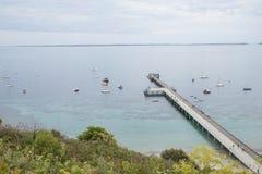 Flinders Jetty i żeglowanie łodzie, Mornington półwysep, Australia Zdjęcia Royalty Free