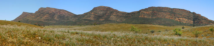 Flinders Ranges. Panorama of a mountain range in the Flinders Ranges National Park, South Australia stock photo