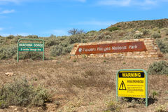 Flinders Ranges Sign. Signs at Brachina Gorge, A corridor through time, in the Flinders Ranges National Park in South Australia royalty free stock images
