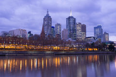 Flinders St Station From The Banks of the River Yarra Royalty Free Stock Image