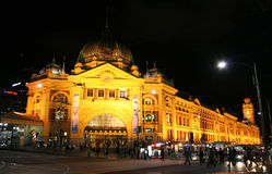 Flinders Station Melbourne Australia. Busy Flinders Station Melbourne, Victoria, Australia at night Stock Image