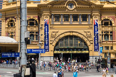 Flinders-Straßen-Station in Melbourne an Australien-Tag Stockbild