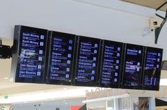 Flinders-Straßen-Bahnstationszeitplan Melbourne Australien Stockbilder