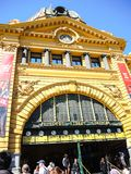 Flinders Street railway station on the corner of Flinders and Swanston Streets, the image shows the entrance in close-up. royalty free stock image