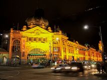 Flinders Street railway station. This image shows the main entrance to the station on the corner of Flinders & Swanston Streets. stock photo