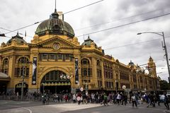Flinders Street railway station is a railway station on the corner of Flinders and Swanston Streets in Melbourne, Victoria, Austra stock images