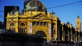 Flinders street railway station time lapse. Close up time lapse of traffic at melbourne's flinders street station stock video footage