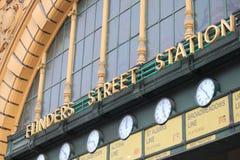 Flinders street train station Melbourne Australia. Flinders Street Station main entrance and famous clocks Melbourne Royalty Free Stock Images