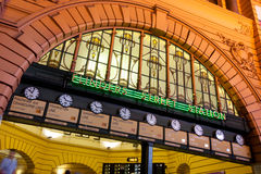 Flinders Street Station Clocks. The clocks at Flinders Street Station, Melbourne, Australia. Under the clocks is a traditional Melbourne meeting place stock image