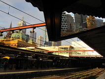 Flinders Street station. A different perspective of the famous Flinders Street station in Melbourne, Australia. Taken from the platform towards the city with the royalty free stock image