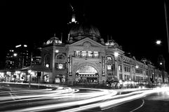 Flinders Street Station, Melbourne, Australia. Night scene at iconic Flinders Street Station Royalty Free Stock Images