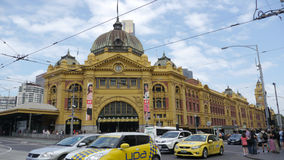 Flinders Street Station, Melbourne, Australia. Busy traffic in front of the main entrance of Flinders Street Station. Australia, Melbourne Royalty Free Stock Images