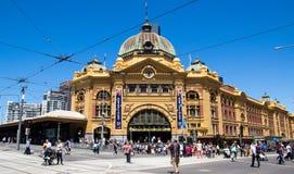 Flinders Street Station in Melbourne on Australia Day. Pedestrians in front of Flinders Street Station in Melbourne on Australia Day Royalty Free Stock Photography