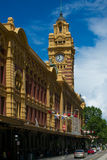 Flinders Street Station, Melbourne, Australia. Station facade and tower from Flinders Street royalty free stock photos