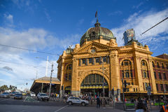 Flinders Street Station in Melbourne, Australia. MELBOURNE, AUSTRALIA - JULY 18, 2016 : Flinders Street Station, a beautiful historic building in Colonial Stock Image