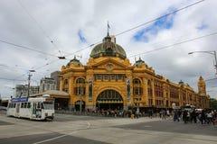 Flinders Street Station in Melbourne, Australia. MELBOURNE, AUSTRALIA - October 31, 2016: Flinders Street Station in Melbourne, Victoria, Australia is the busy Stock Images