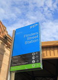 Flinders Street Station Melbourne Australia. Flinders Street Station sign Melbourne Australia Stock Photography