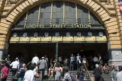 Flinders Street Station Melbourne. Busy entrance to Flinders Street Station in Melbourne, Australia stock photo