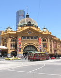 Flinders street station tram Melbourne Stock Photo