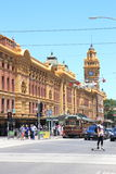 Flinders street station and tram Royalty Free Stock Image