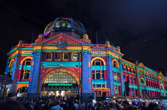 Flinders Street Station at White Night stock photo