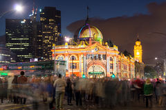 Flinders Street Station during the White Night Festival. MELBOURNE, AUSTRALIA - 22 FEBRUARY 2014: Thousands of people packed the Melbourne CBD to see Flinders Stock Photos