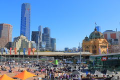 Flinders street train station cityscape Melbourne Australia Royalty Free Stock Photography