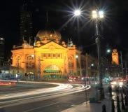 Flinders street train station Melbourne Australia. Flinders street train station night view Melbourne Stock Image