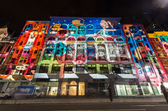 Flinders Street during White Night. Illumination of the façade of Flinders Street buildings in Melbourne, Australia, during the White Night arts festival from stock image