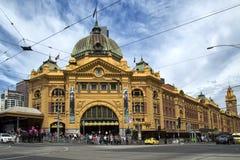 Flindersstraßenbahnbahnhof in Melbourne lizenzfreie stockfotografie