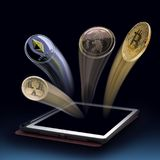 Fling de la moneda de la moneda de Digitaces de la tableta concepto de beneficios bit imagen de archivo libre de regalías