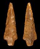 Flint Arrowhead - frente y parte posterior Fotografía de archivo