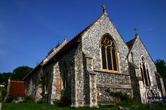 Flint Church against deep blue sky. Hughenden St Michael & All Angels Church in Buckinghamshire England Stock Images