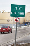 Flint, Michigan City Limit Sign Stock Photography