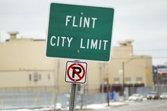 Flint, Michigan City Limit Sign Royalty Free Stock Photo