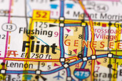 Flint, Michigan on map. Closeup of Flint, Michigan on a road map of the United States stock images