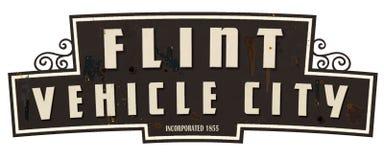 Flint Michigan Vehicle City Limits-Teken Retro Wijnoogst royalty-vrije stock afbeeldingen