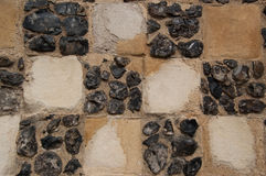 Flint and Sandstone Chequer Board Wall Construction Detail Royalty Free Stock Photography